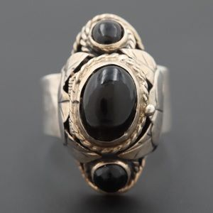 Sterling Silver VINTAGE MEXICAN TAXCO onyx ring